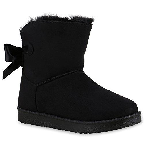 Warm Gefütterte Damen Stiefeletten Schlupfstiefel Boots Schleifen Schuhe 128596 Schwarz 40 Flandell