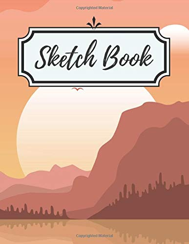 Mountain Landscape Sunset Flat Style Seamless Abstract Background Sketch Book: 100 Pages, 8.5x11 inch (21.59 x 27.94 cm) - Premium Design