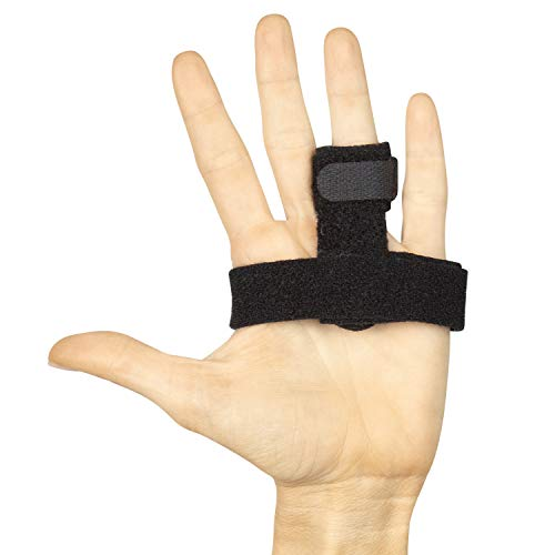 Vive Trigger Finger Splint Brace - Middle, Pinky, Pointer, Ring and Thumb Support - Palm Strap Included - Straighten Curved or Broken Fingers - Adjustable, Breathable Fit - Aluminum Pain Relief Guard