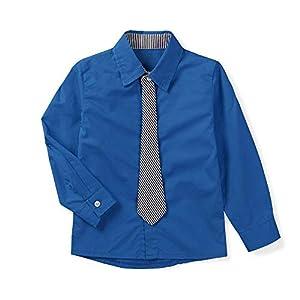 ボタンシャツ ボーイズ ブラウス キッズ 無地 シャツ 子供服 yシャツ フォーマル ワイシャツ ネクタイ 可愛い 長袖 服 コットンシャツ 入学式 入園式 ブルー 130cm(JP120cm)