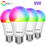 Smart WiFi Light Bulb,Compatible with Alexa Google Home (No Hub Required),E26 2.4G WiFi,9W(80W Equivalent) RGBCW Color Changing, 2700K-6500K Dimmable, 4Pack by Boxlood