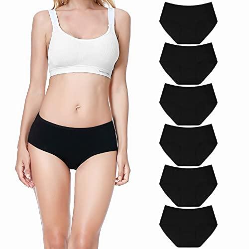 Falechay Unterwäsche Damen Unterhosen Slips Baumwolle Atmungsaktiv Panties Hipster Mittel Taille Höschen Frauen 6er Pack Schwarz XL