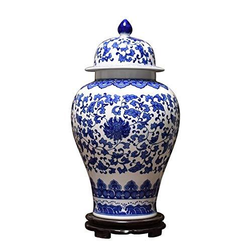 Preisvergleich Produktbild LEZDPP Keramik Jingdezhen Antike Blaue und weiße Porzellan Große Lotus Muster Ingwer-Glas Vorratstank Speicherzubehör