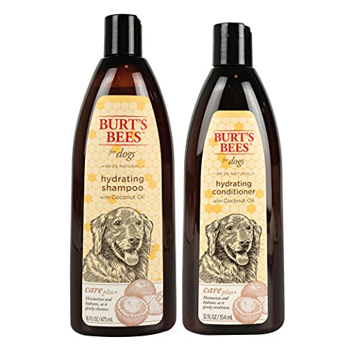 Combo Pack: Burt's Bees for Dogs Care Plus+ Hydrating Shampoo and Conditioner with Coconut Oil for Dogs | Cruelty Free, Sulfate & Paraben Free, pH Balanced for Dogs - Made in The USA