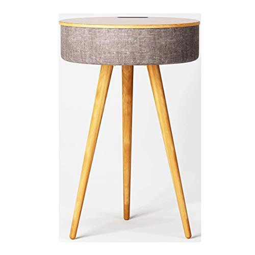 YONGYONG-Footstool Smart Couchtisch Bluetooth Lautsprecher Kleine Runde Tisch Mini Nachttisch Einfache Sofa Wohnzimmer Telefon Tisch Massivholz Beistelltisch 40 * 40 * 60 cm (Farbe : Holz Farbe)