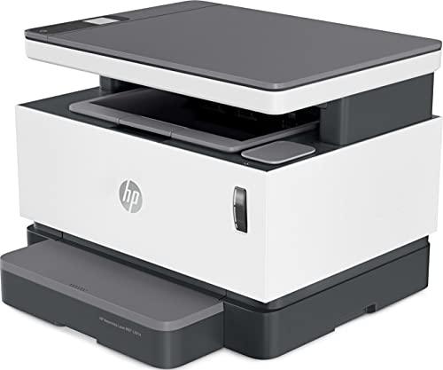 HP Neverstop Laser 1201n 5HG89A, Impresora A4 Multifunción Monocromo Con Depósito de Tóner, Imprime, Escanea y Copia, Fast Ethernet, Puerto USB 2.0, HP Smart App, Panel de Control LCD, Blanca