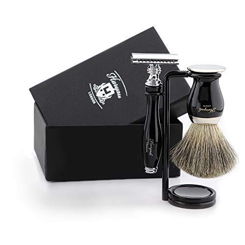 Traditionelles 3 teiliges Rasierset in Schwarz Farbe Reines Rasierhobel Rasierhobel und Rasierhobel für Rasiermesser und Pinsel Tolles Geschenk für jeden Gentleman Perfekt für den täglichen Gebrauch