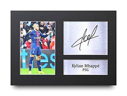 HWC Trading Kylian Mbappe A4 Ungerahmt Signiert Gedruckt Autogramme Bild Druck-Fotoanzeige Geschenk Für Paris Saint-Germain PSG Fußball Fans