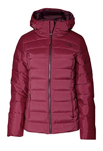 The North Face Stretch Down Hooded Puffer Jacket Women's Rumba Red (L)