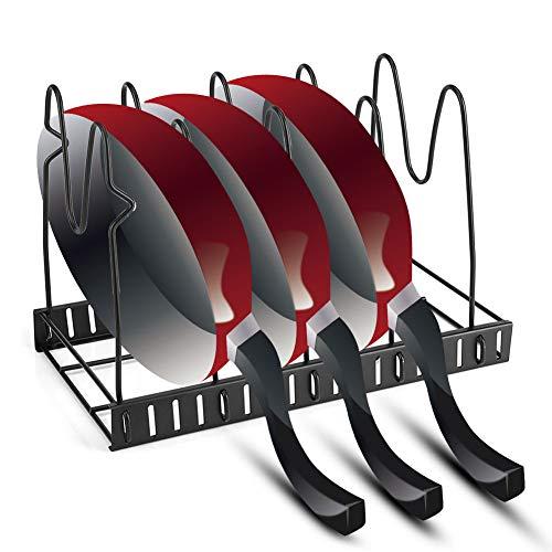NBLYW Verstelbare Pan Pot Rack Organizer, 5 Dividers Kookgerei Opslaghouder, Keukenteller en Kast Organizer voor Pot Deksel, Snijplank, Kookplaat