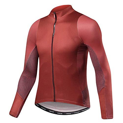 Santic Maillot Bicicleta Hombre Maillot Ciclismo con Mangas Largas con Bolsillos como Camiseta Interior en Invierno Rojo de Ladrillo EU M