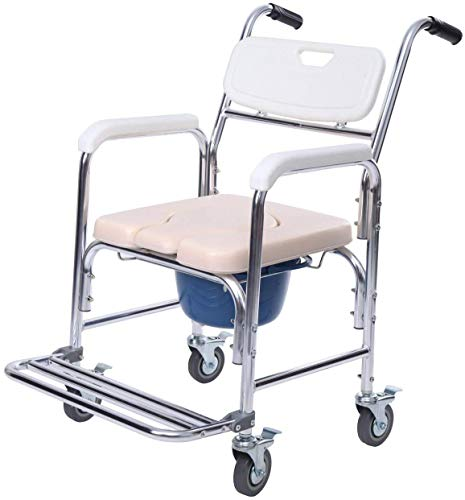 Yonntech 3in1 Bedside Commode Transport Wheelchair Multiple Function Folding Bathroom Shower Chair Bedside Toilet Seat Detachable Bucket with Locking Rear Castors and Leg Rest