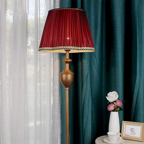 KUN PENG SHOP Lámpara de pie Libre con lámpara de Piso remota, Retro con Tela roja de Vino Lámpesada, Piso de pie luz de Lectura para Sala de Estar, Dormitorio