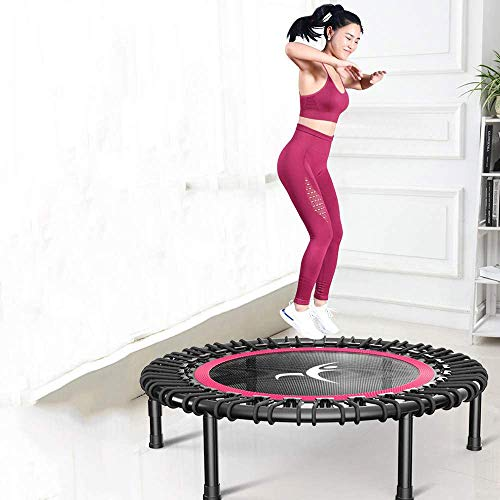 32' 40' 42' Fitness Trampoline, Silent Mini With Adjustable Handle Length, Adults Kids Indoor Gym Bungee Rebounder Jump Trainer Workout,red-32''-Without-armrest