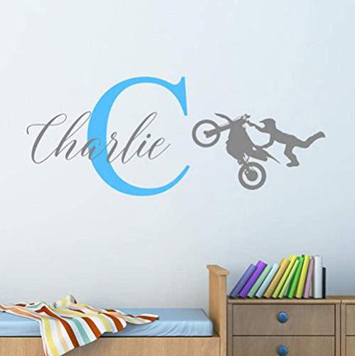 Adhesivo de pared personalizado con el nombre Cool Motor Cruz para niños, guardería, dormitorio, arte de vinilo, 52 x 36 cm, personalizable