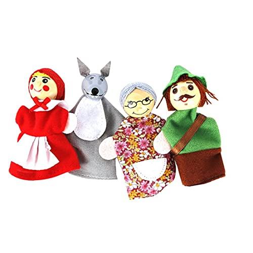 Dedo 4pcs / set Caperucita animales navidad juguete marioneta marionetas de los juguetes educativos para los niños lindo terciopelo suave dedo animal del traqueteo del bebé / campana de la cama