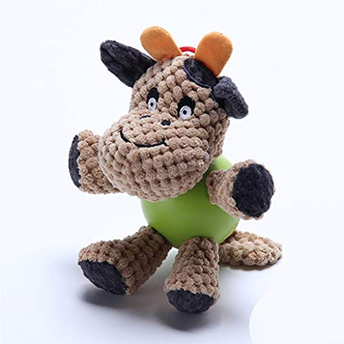 NYKK Juguete para Mascotas Juguetes Animales Los Dientes del Perro casero Juguete mordedura al Felpa Cachorros Golden Retriever Peluche Samoyedo Sondeo de la muñeca (Color : Cows)