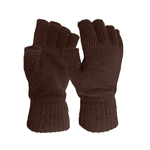 BUZHIDAO Unisex Winter Warm Half-finger Gloves Wool Fingerless Gloves Knitted Solid Color Warm Gloves for Men And Women (1PC, F)