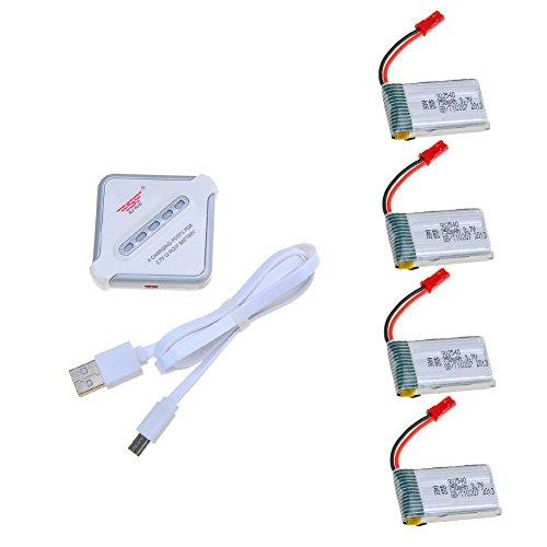 4 in 1 USB Ladeger/ät f/ür Syma X5 X5C X5SC X5SW MJX X705C RC Drohne Quadcopter Ersatzbatterie Teile Heaviesk 4 St/ücke 3,7 V 650 mAh Batterie