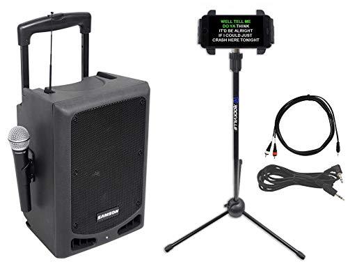 Sale!! Samson 8 Portable Powered YouTube Karaoke Machine/System w/Mic+Smartphone Stand