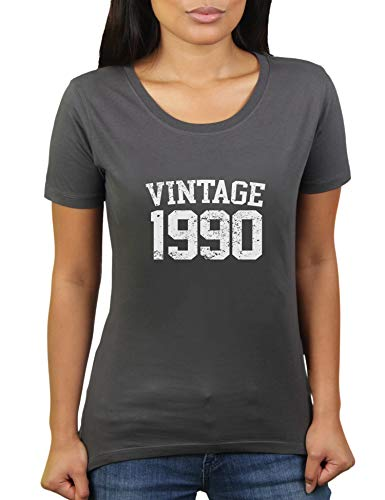 KaterLikoli Vintage 1990 - Camiseta para mujer con texto en alemán 'Jahrgang' antracita XL