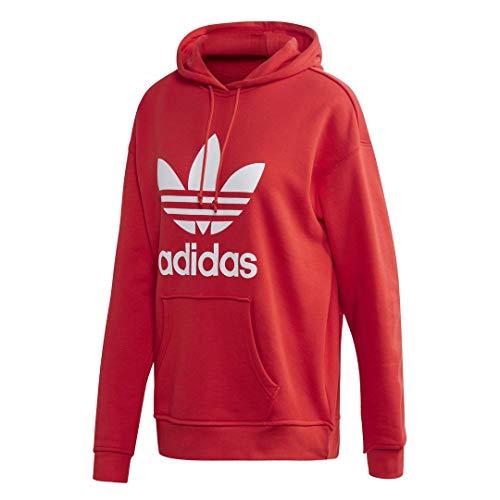 adidas Originals Trefoil Hoodie Sweatshirt Sudadera con Capucha, Rojo y Blanco, L para Mujer