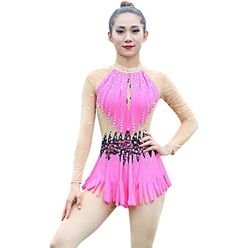 Rhythmic Gymnastics Leotards Women Girl Professional Competition Leotard (skicka ett paket huvudband och rhinestones),Pink,10