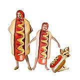 Tanwenling33 Disfraz de Hot Dog para Perro Niño Adulto, Disfraz de Halloween Footlong Mujer Hombre Adolescente, Disfraces Cosplay Disfraz de Comida