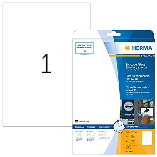 HERMA 4577 Wetterfeste Folien-Etiketten DIN A4 ablösbar (210 x 297 mm, 20 Blatt, Polyesterfolie, matt) selbstklebend, bedruckbar, abziehbare und wieder haftende Klebefolie, 20 Klebeetiketten, weiß