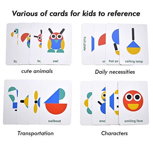 GEMEM木製パターンブロック動物ジグソーパズルソートゲームクラシック幾何学形教育玩具3歳4歳5歳幼児子供(36種類の形状ピース&60枚のデザインカード)