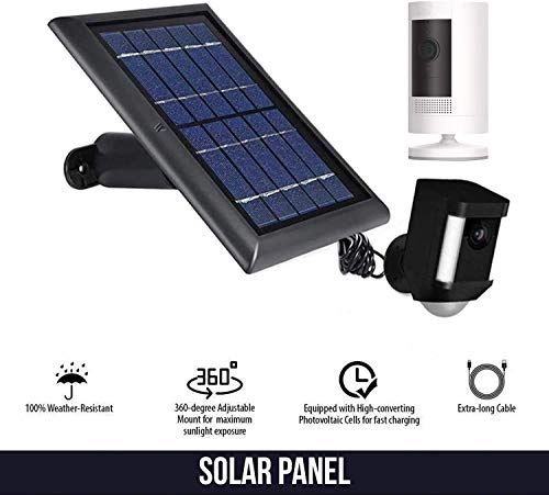 Wasserstein Solar Panel Compatible with Ring Spotlight Cam Battery, Ring Stick Up Cam Battery & Reolink Argus Pro - Power Your Ring Surveillance Camera continuously with 2W 5V Charging (1-Pack, Black)