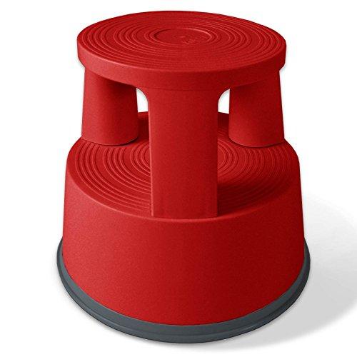 Floordirekt Rollhocker, Tritthocker, Elefantenfuß | Hocker für Buro oder Gewerbe | TÜV + GS geprüft | viele Farben | Kunststoff oder Stahl (Rot, Kunststoff)