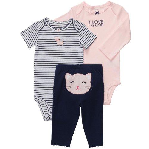 Carter's Baby Girls' 3 Pc Turn Me Around Set - Pink/Navy Kitty - 9 Months
