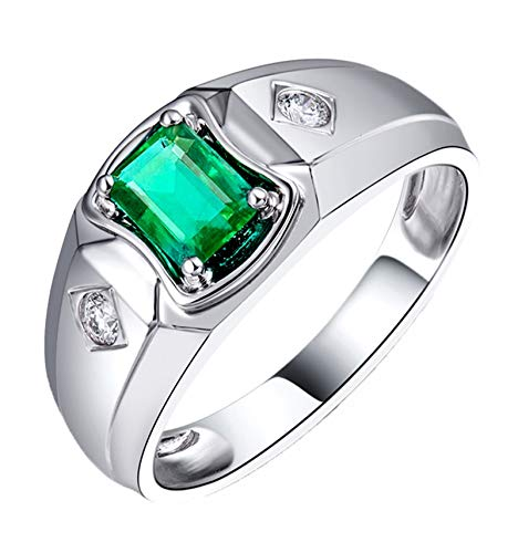AtHomeShop Real Gold Collection, 18K White Gold Rings, Women's Rings with Sparkling Emerald Green Shape Emerald and Diamond Marriage Proposal Ring for New Year Gift White Gold