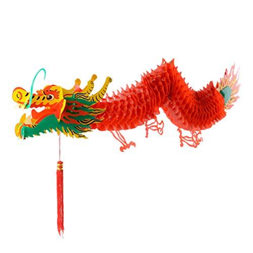 Amosfun 1 5 m Chinesisches Neujahrsfest Drachen Laterne Kunststoff hängende Laterne Ornamente für die Dekoration