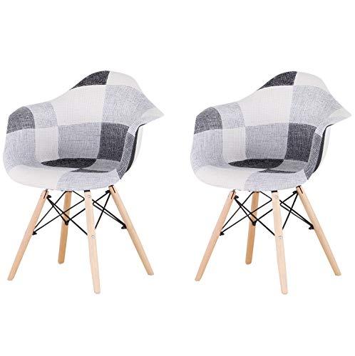 Un conjunto de 2 sillas de comedor sillones sala de estar estilo nórdico, patchwork (negro y blanco gris)