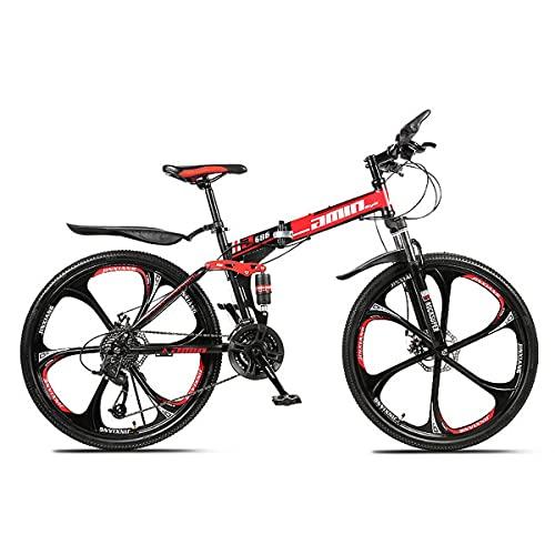 GGXX Folding Mountain Bike, 24/26 Inch Outdoor Sports Carbon Steel MTB Bicycle, 21/24/27/30 Speed Rear Derailleur