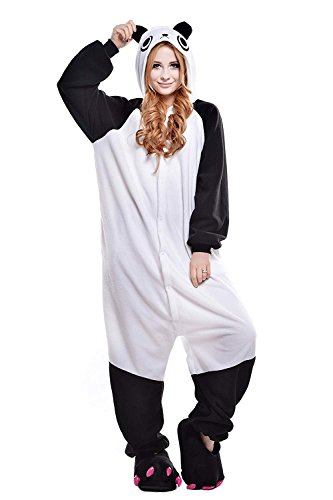 Kigurumi Männer Damen Pyjama Kostüm Overall Plüsch Overall Tier Verkleidung für Erwachsen, Großer Panda