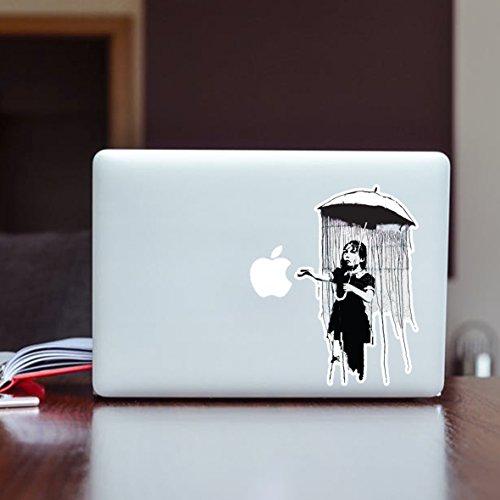 Pegatina de vinilo para pared, diseño de niña con paraguas Banksy, para...
