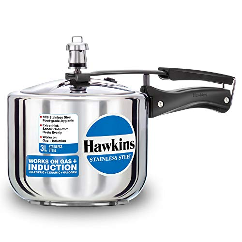 Hawkins Stainless Steel Tall Pressure Cooker, 3 Litres, Silver