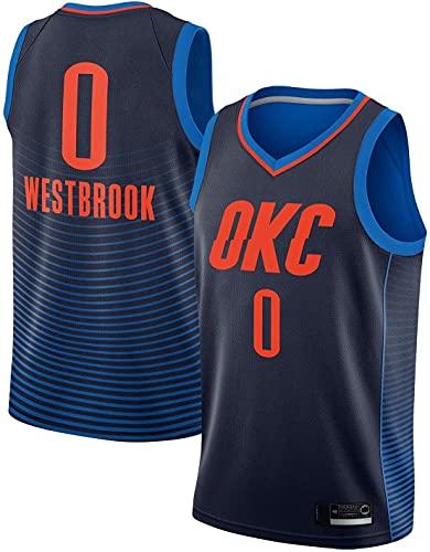 Uniforme de Baloncesto para Hombres, Equipo de Thunder OKC # 0 Russell Westbrook's 17-19 Temporada Sin Mangas Baloncesto Jersey, Malla Transpirable Chaleco Bordado Denim Azul
