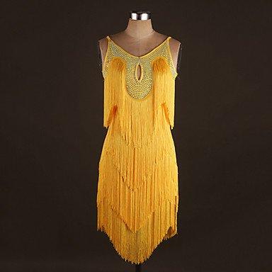 kekafu Wir Latin Dance Kleider Leistung Spandex Kleberraupe/Quaste (s) 1 Stück Ärmelloses natürlichen Kleid, Gelb, XXL