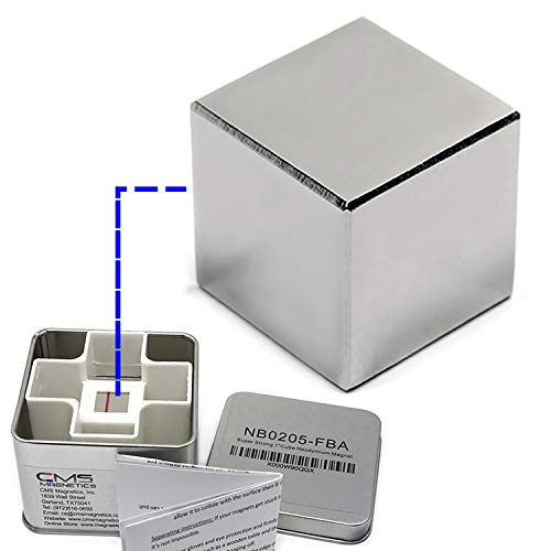 CMS Magnetics Super Strong 1' Cube Neodymium Magnets in a Tin Box for Added Safety | Rare Earth Magnets as Stud Finder and Science Project Magnets