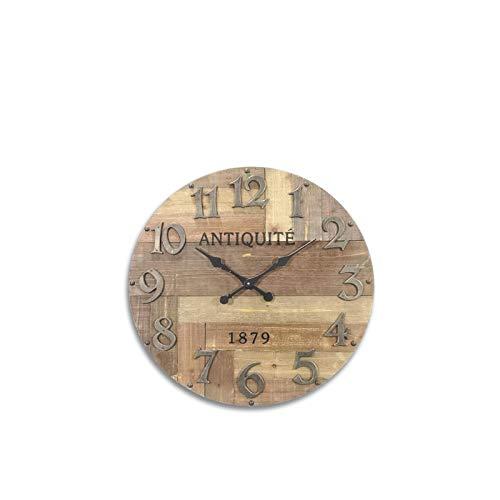 Horloge ronde en bois vieilli