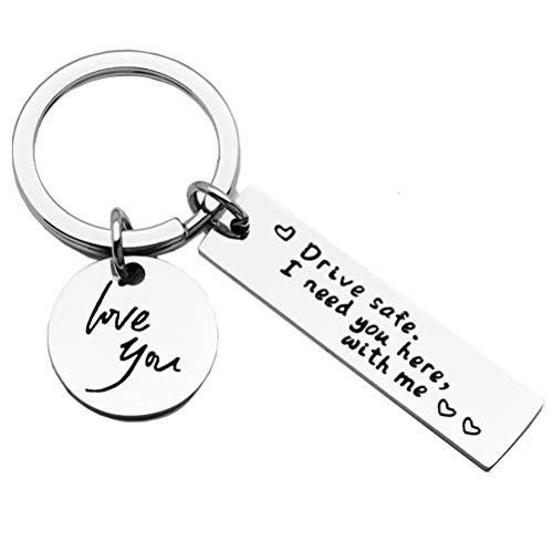 Dan&Dre Car Key Ring, Safe Driving Handsome Love You Keychain for Boyfriend Husband Santa Claus Birthday Valentines Gifts