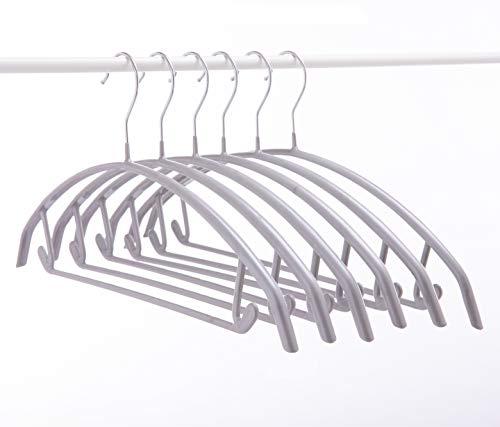 Cocomaya 43CM Silber No Shoulder Bumps Rutschfester, gummibeschichteter Metall-Kleiderbügel, Pullover-Kleiderbügel, T-Shirt-Kleiderbügel Packung mit 20 Stück