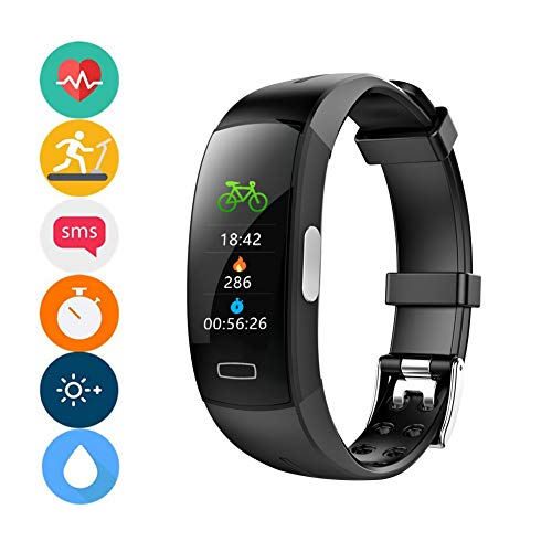 Fitness Tracker IP67 Waterproof Sport Smart Watch Activity Tracker with Temperature Measuring, Calories, Heart Rate Monitor Pedometer, Sleep Monitor,Best for Man Women & Kids,Black