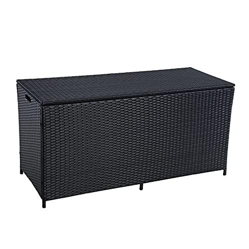ESTEXO Polyrattan Auflagenbox Kissenbox Gartenbox Gartentruhe Aufbewahrungsbox Auflagentruhe Aufbewahrungstruhe Kissentruhe (Schwarz)