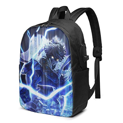 Anime Demon Slayer Kimetsu no Yaiba Laptop Backpack- with USB Charging Port/Stylish Casual Waterproof Backpacks Fits Most 17/15.6 Inch Laptops and Tablets/for Work Travel School