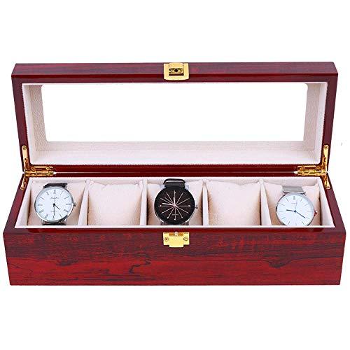 Joyero Para Mujer Caja De Reloj / Caja De Reloj Caja De Exhibición De Almacenamiento De Joyas, Pintura De Piano De Madera, Techo Corredizo De Vidrio Hermosa Cerradura Almacenamiento De 5 Rel